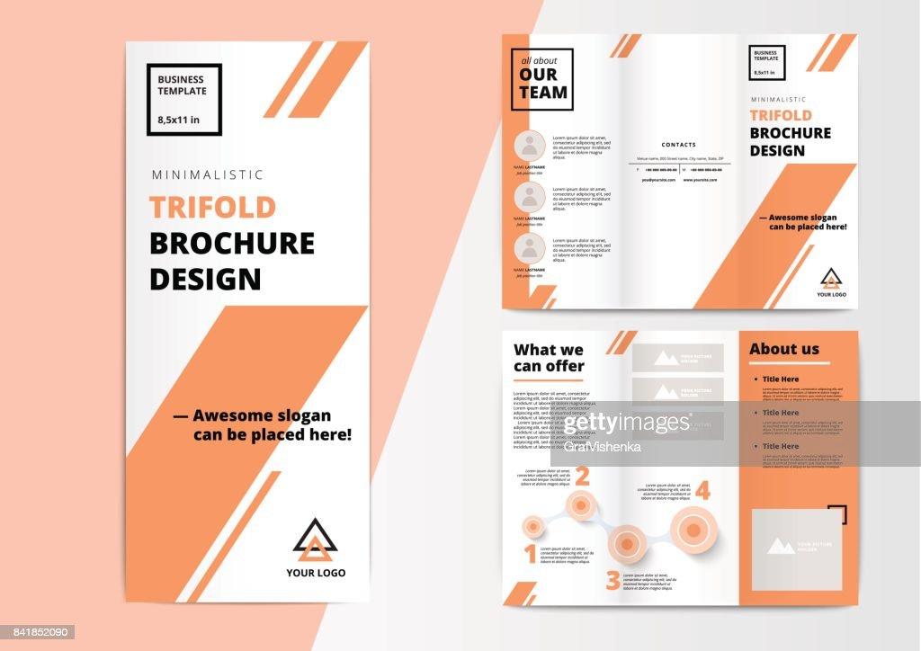 Сorporate presentation trifold brochure design. Creative busine