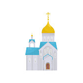 Orthodox Church building, religious temple vector Illustration on a white background