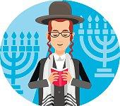 orthodox jew,hassid,rabbi,with Payot and Kippah
