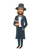 Orthodox jewish man east tradition israeli religious belief judaism and holiday comic hebrew character symbol ethnic judaic people vector illustration