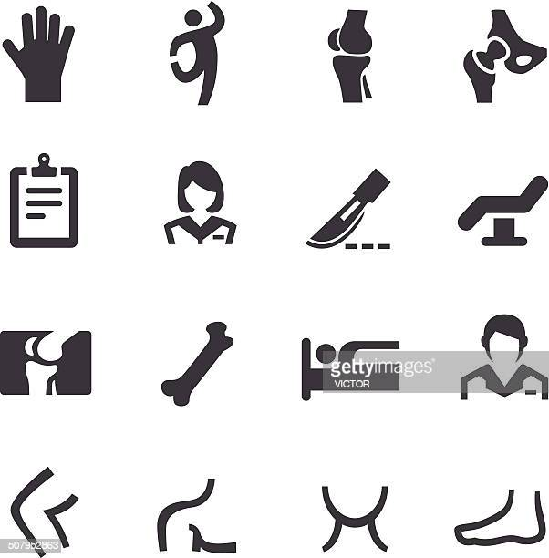 orthopedic icons - acme series - human knee stock illustrations, clip art, cartoons, & icons