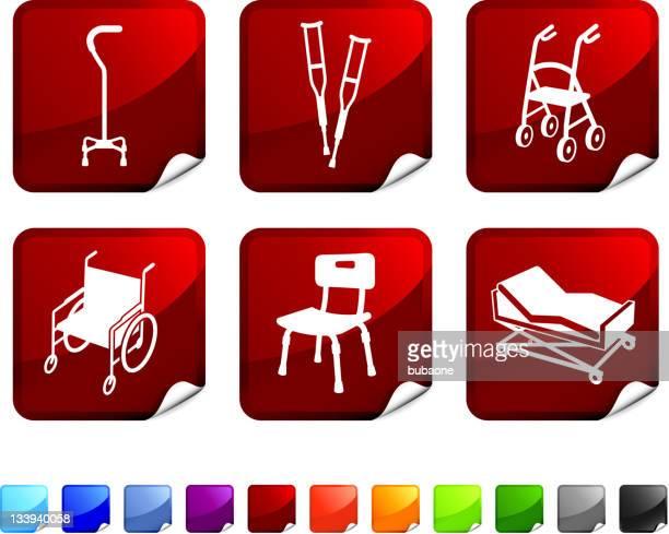 Fuentes clínica ortopédica sin royalties de vector icon set pegatinas