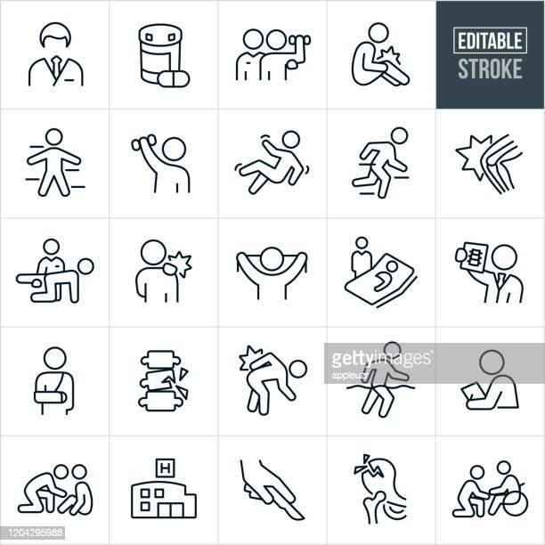 illustrations, cliparts, dessins animés et icônes de orthopédie et réadaptation thin line icons - avc modifiable - mal de dos