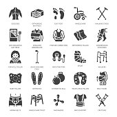 Orthopedics, trauma rehabilitation glyph icons. Crutches, mattress pillow, cervical collar, walkers, medical rehab goods. Health care signs for clinic, hospital. Solid silhouette pixel perfect 64x64