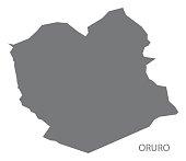 Oruro Bolivia department map grey illustration silhouette
