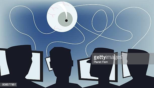 orwellian world - big brother orwellian concept stock illustrations, clip art, cartoons, & icons