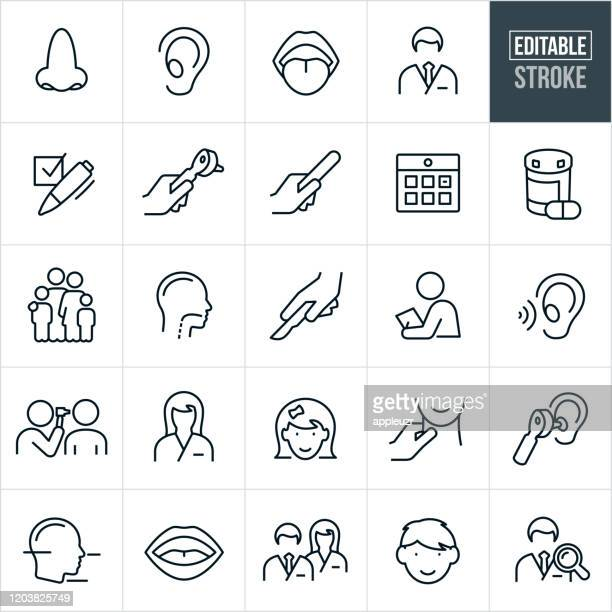 otolaryngology thin line icons - editable stroke - ear stock illustrations