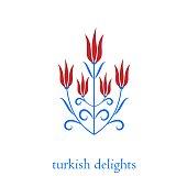 Ottoman turkish tulips vector illustration