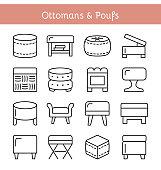 Ottomans & Poufs. Accent stools. Vector icon set.