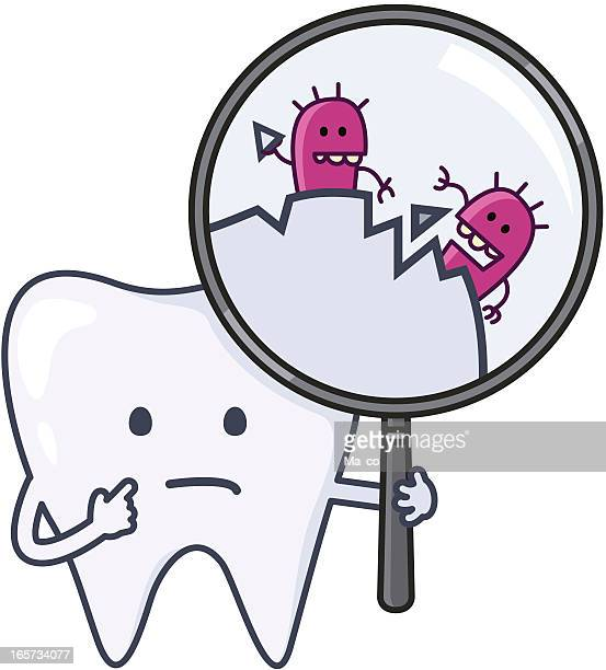 """ilustraciones, imágenes clip art, dibujos animados e iconos de stock de """"dientes'ouch con cavidades"""" - dolordemuelas"""