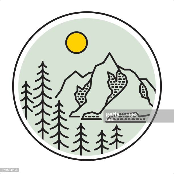 Мountain forest landscape - Outline style nature