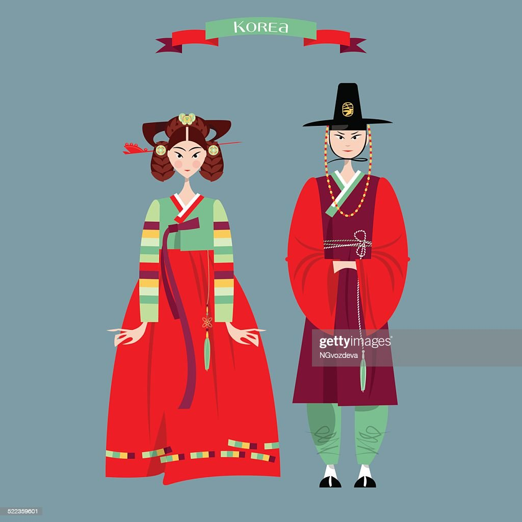 Сouple in traditional korean dresses. Hanbok.