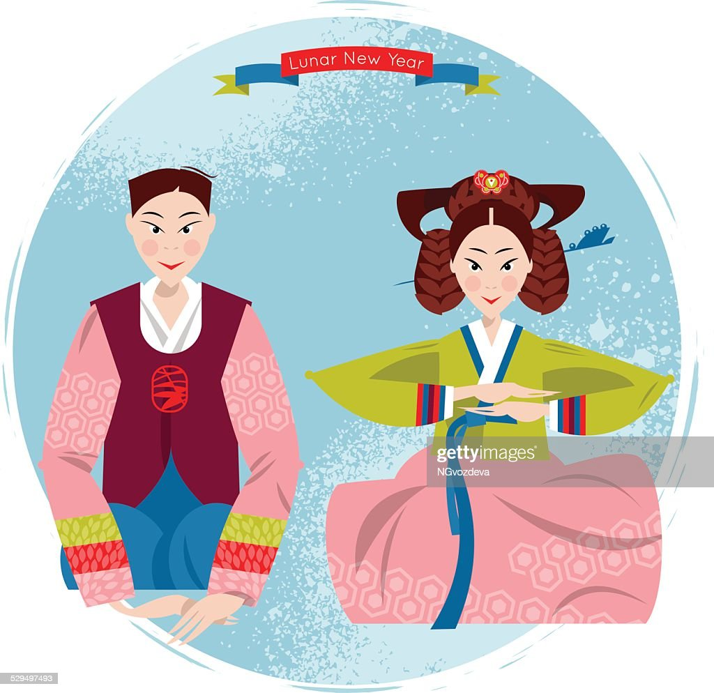 Сouple in traditional korean dresses. Seollal. Lunar New Year.