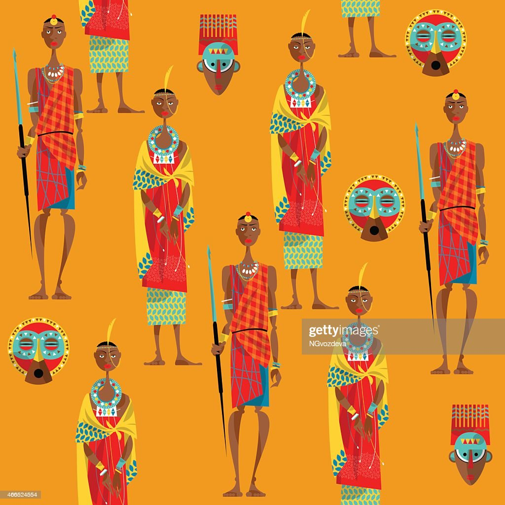 Сouple of maasai in traditional dress. Seamless background pattern.