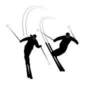 Сouple skiers smiling riding on ski on snow winter.