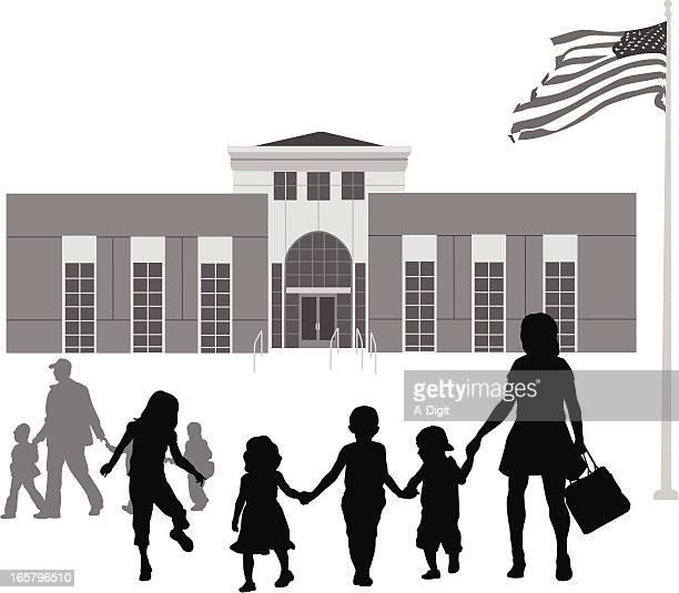 ilustraciones, imágenes clip art, dibujos animados e iconos de stock de ourschool - edificio de escuela primaria