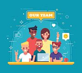 Our team - modern flat vector illustration. Group of positive people.