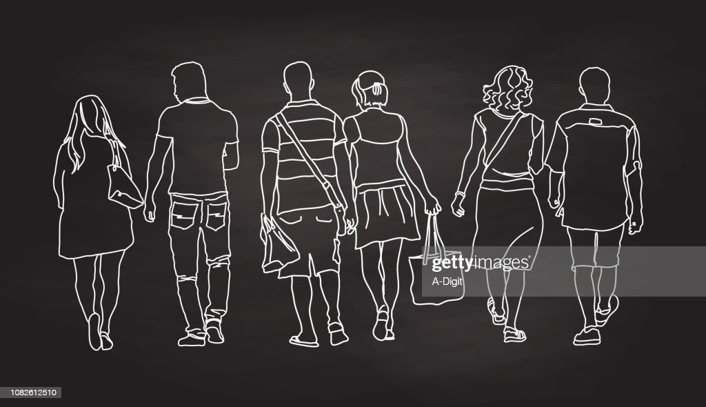 Out For A Stroll Couples : stock illustration