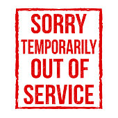 Out of service grunge rubber stamp