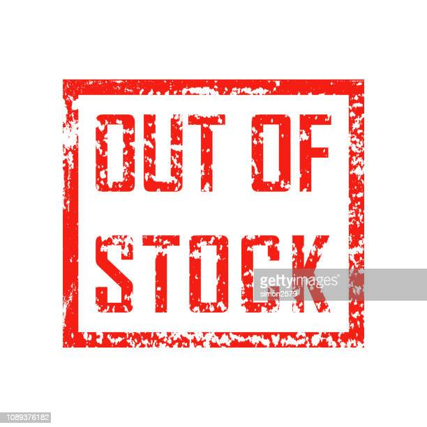 out of stock red grunge square vintage rubber stamp - sold out stock illustrations