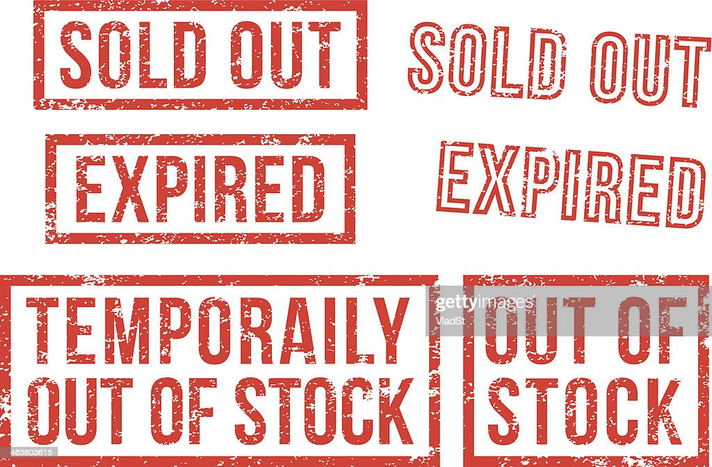 Out of stock, sold - rubber stamps
