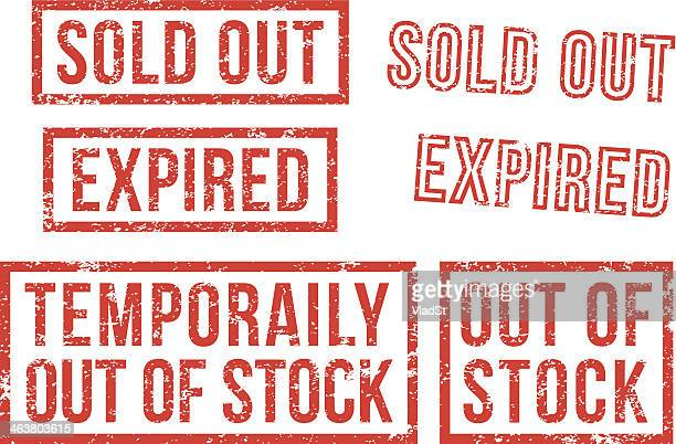 out of stock, sold - rubber stamps - sold out stock illustrations