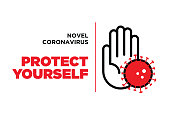COVID-19 outbreak influenza as dangerous flu strain cases as a pandemic concept banner flat style illustration stock illustration