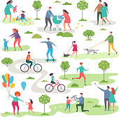 Outdoor activism in urban park. Bicycle riders and walking peoples