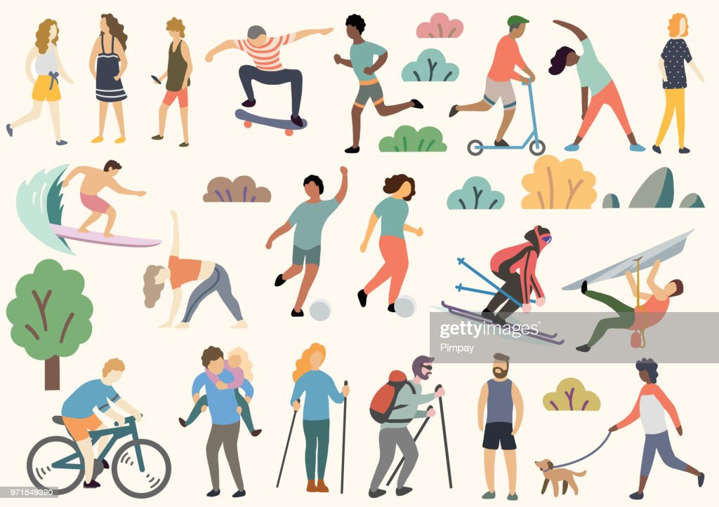 Outdoor activity illustration, doodle, drawing, vector