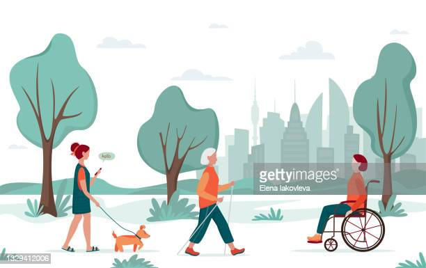 outdoor activity people walking city park