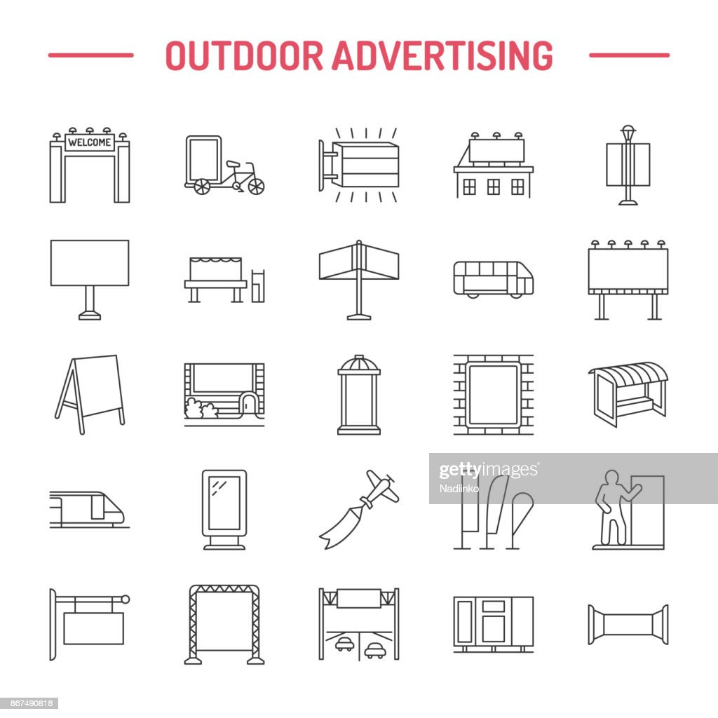 Outdoor advertising, commercial and marketing flat line icons. Billboard, street signboard, transit ads, posters banner and other promotion design element. Grey color. Trade objects thin linear sign