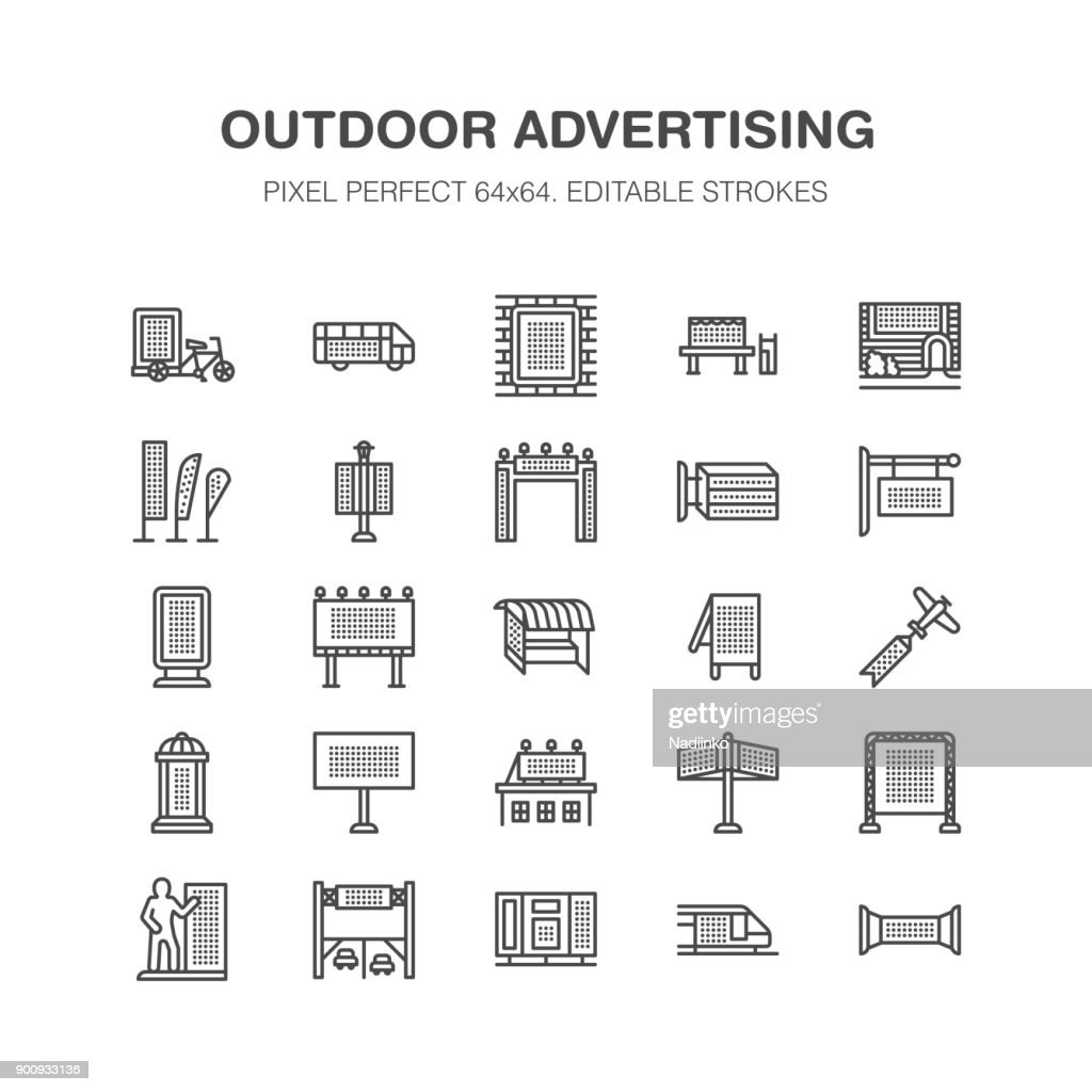 Outdoor advertising, commercial, marketing flat line icons. Billboard, street signboard, transit ads, posters banner promotion design elements. Trade objects thin linear sign. Pixel perfect 64x64