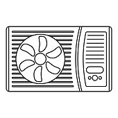 Outdoor air conditioner fan icon, outline style
