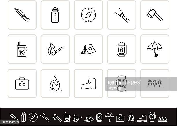 outdoor and camping icon set - hatchet stock illustrations, clip art, cartoons, & icons