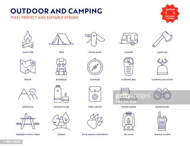 outdoor- und camping-icon-set mit bearbeitbarem strich und pixel perfekt. - fernglas stock-grafiken, -clipart, -cartoons und -symbole