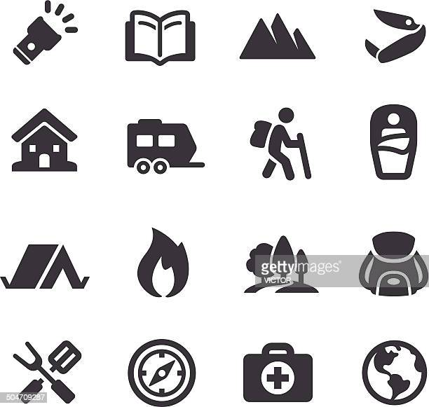 outdoor and camping icons - acme series - natural parkland stock illustrations, clip art, cartoons, & icons