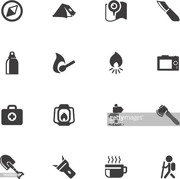outdoor and camping icons - flashlight stock illustrations, clip art, cartoons, & icons