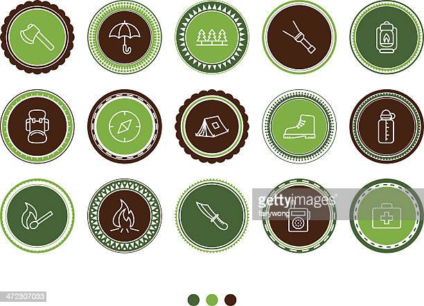 outdoor and camping icons - hatchet stock illustrations, clip art, cartoons, & icons