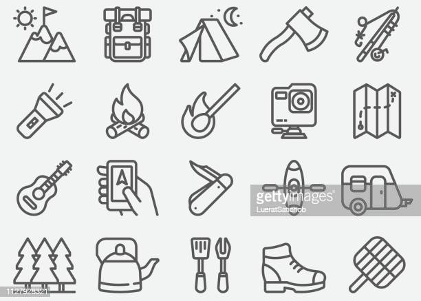 outdoor and hiking line icons - flashlight stock illustrations