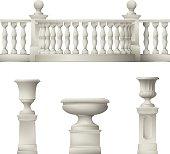 Outdoor and park elements : balustrade , decorative vase