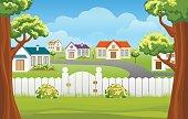 Outdoor backyard background cartoon illustration