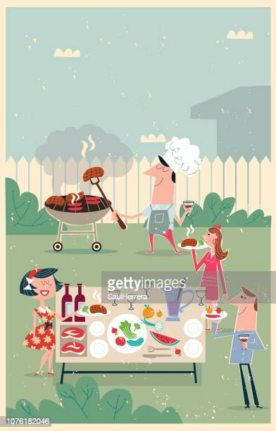 outdoor barbecue meeting - party social event stock illustrations
