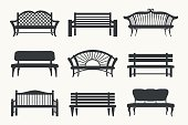 Outdoor benches icons