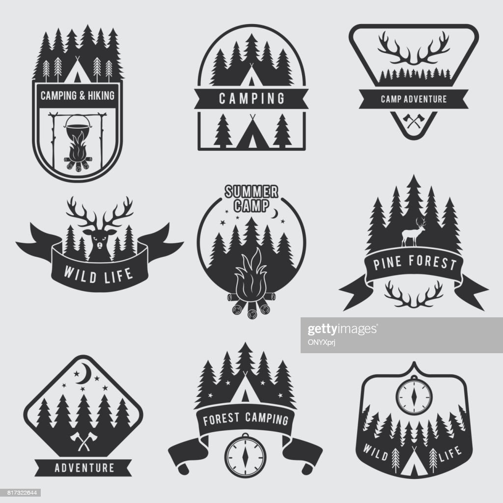 Outdoor camping labels set. Explorer monochrome badges. Adventure vector illustration. Black silhouette of forest, deer and tent