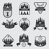 Outdoor camping labels set. Explorer monochrome badges. Adventure vector illustration. Black silhouette of forest, deer and tent