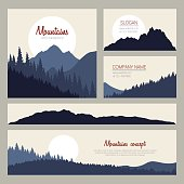 Outdoor cards design with mountains on background