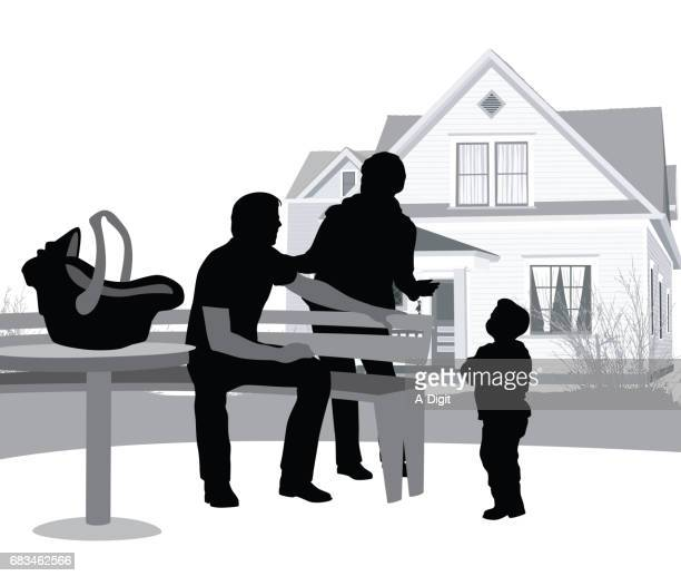 outdoor caring family - family fighting cartoon stock illustrations