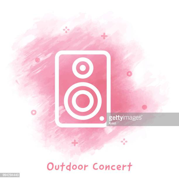 outdoor concert line icon watercolor background - bass instrument stock illustrations, clip art, cartoons, & icons