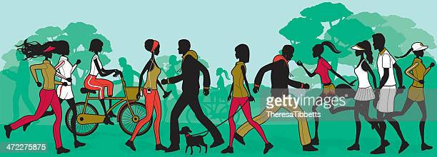 outdoor fitness - racewalking stock illustrations, clip art, cartoons, & icons