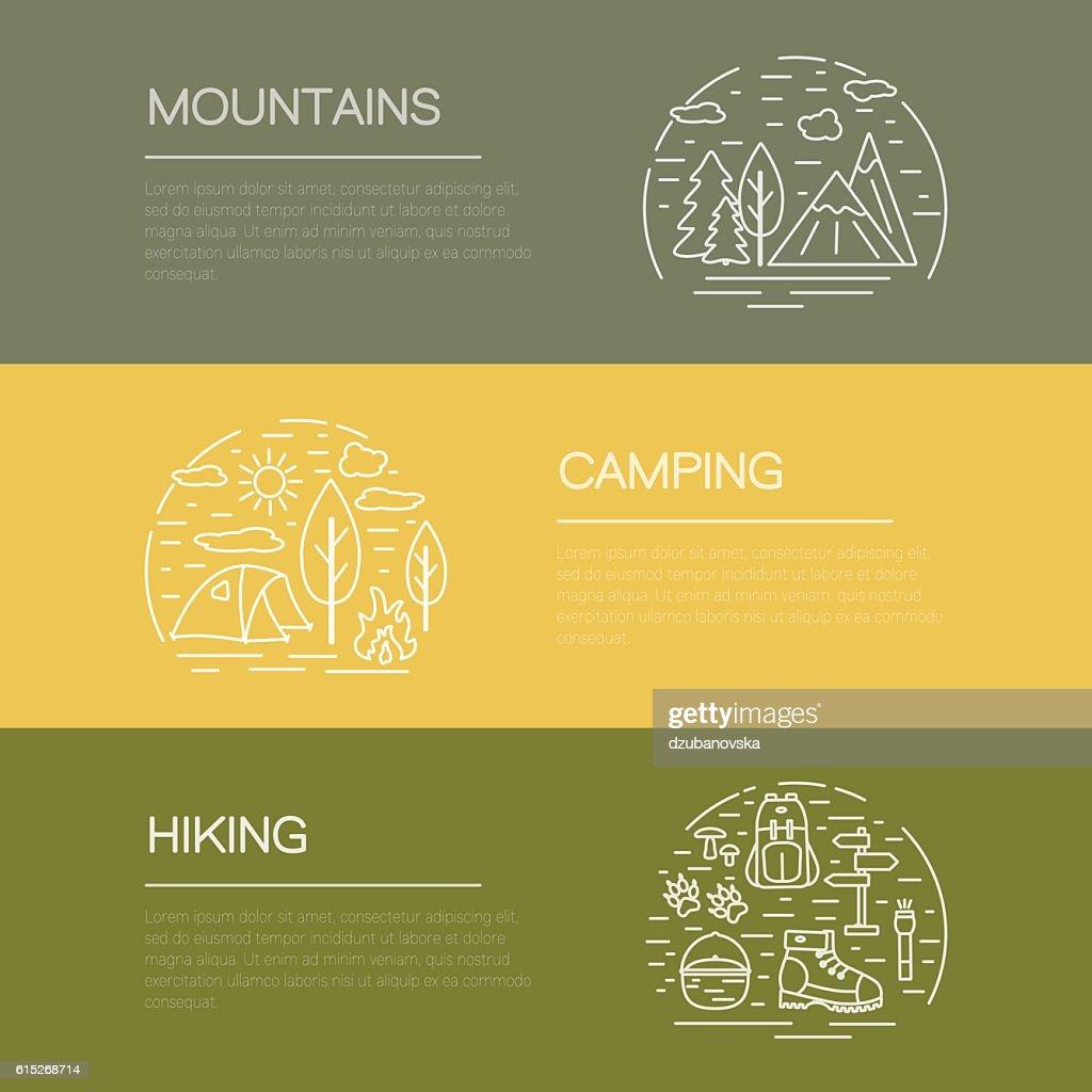 Outdoor flyers with hiking and camping icons and symbols